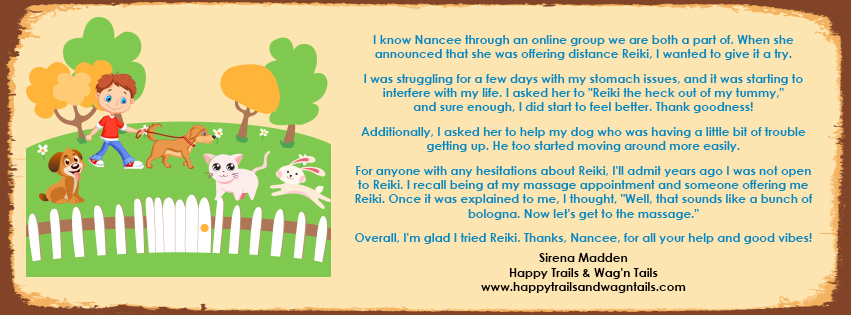 Testimonials for animal Reiki and people Reiki